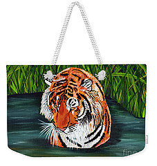 Weekender Tote Bag featuring the painting The Stare by Laura Forde