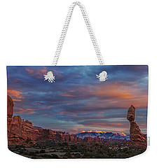 The Sun Sets At Balanced Rock Weekender Tote Bag