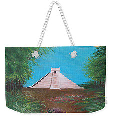 Weekender Tote Bag featuring the painting The Temple Of Kukulcan by Alys Caviness-Gober