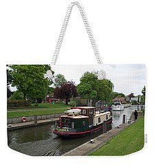 Weekender Tote Bag featuring the photograph The Thames At Penton Hook Lock by Jayne Wilson