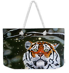 The Tiger In Winter Weekender Tote Bag