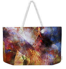 Weekender Tote Bag featuring the mixed media The Touch by Ally  White