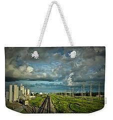 The Train Yard Weekender Tote Bag by Linda Unger