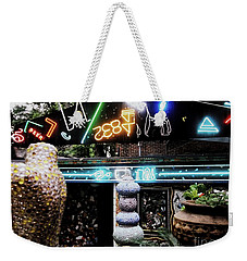 Weekender Tote Bag featuring the photograph The Venice Cafe' Outdoor Garden by Kelly Awad