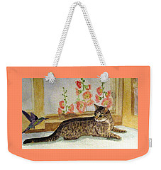 Weekender Tote Bag featuring the painting The Visitor by Angela Davies