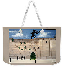 Weekender Tote Bag featuring the painting The  Western Wall And Fiddler On The Roof by Nora Shepley