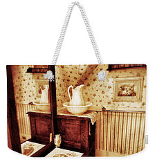 Weekender Tote Bag featuring the photograph The Water Pitcher And Wash Basin by Jean Goodwin Brooks
