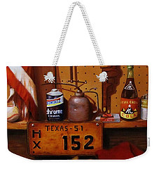 Weekender Tote Bag featuring the painting The Workshop by Gene Gregory