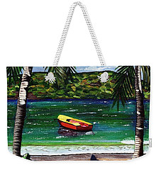 Weekender Tote Bag featuring the painting The Yellow And Red Boat by Laura Forde