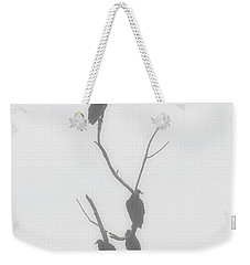 Their Waiting Four Black Vultures In Dead Tree Weekender Tote Bag by Chris Flees