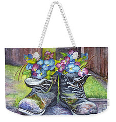 Weekender Tote Bag featuring the painting These Boots Were Made For Planting by Carol Wisniewski