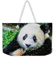 Weekender Tote Bag featuring the painting Thinking Of David Panda by Lanjee Chee