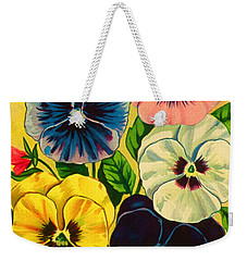 Pansy Flowers Antique Packaging Label  Weekender Tote Bag