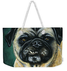 This Is My Happy Face - Pug Dog Painting Weekender Tote Bag