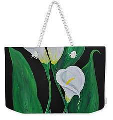 Weekender Tote Bag featuring the painting Three Calla Lilies On Black by Janice Rae Pariza