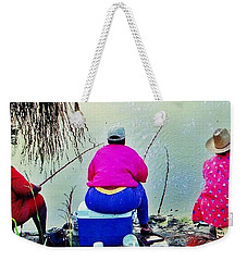 Weekender Tote Bag featuring the photograph Three Cane Poling Women With Purses by Patricia Greer