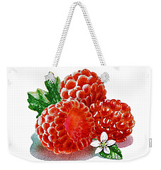 Weekender Tote Bag featuring the painting Three Happy Raspberries by Irina Sztukowski