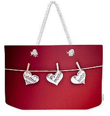 Three Hearts Weekender Tote Bag by Jan Bickerton