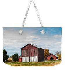 Weekender Tote Bag featuring the photograph Three In One Barns by Debbie Green
