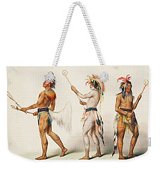 Three Indians Playing Lacrosse Weekender Tote Bag