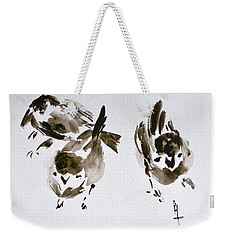 Three Little Birds Perch By My Doorstep Weekender Tote Bag by Beverley Harper Tinsley