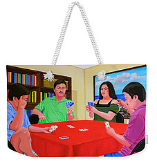 Three Men And A Lady Playing Cards Weekender Tote Bag by Cyril Maza