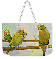 Three Parakeets Weekender Tote Bag by Michael Creese