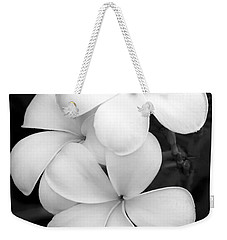 Three Plumeria Flowers In Black And White Weekender Tote Bag by Sabrina L Ryan