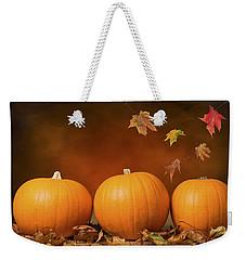 Three Pumpkins Weekender Tote Bag by Amanda Elwell