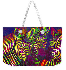 Three Rainbow Zebras Weekender Tote Bag by Jane Schnetlage