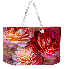 Weekender Tote Bag featuring the mixed media Three Roses - Red by Carol Cavalaris