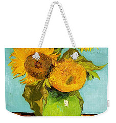 Three Sunflowers In A Vase Weekender Tote Bag