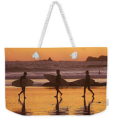 Three Surfers At Sunset Weekender Tote Bag
