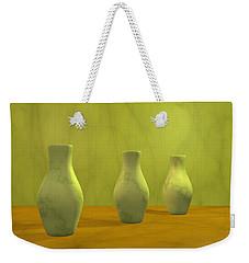 Weekender Tote Bag featuring the digital art Three Vases II by Gabiw Art