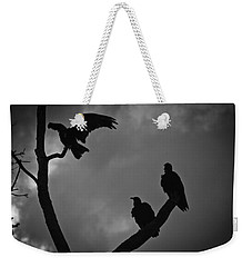 Weekender Tote Bag featuring the photograph Three Vultures by Bradley R Youngberg