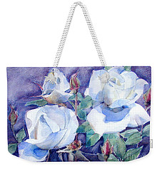 Weekender Tote Bag featuring the painting White Roses With Red Buds On Blue Field by Greta Corens