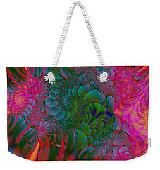 Weekender Tote Bag featuring the digital art Through The Electric Garden by Elizabeth McTaggart