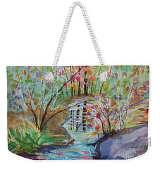 Weekender Tote Bag featuring the painting Thunder Mountain Mystery by Ellen Levinson
