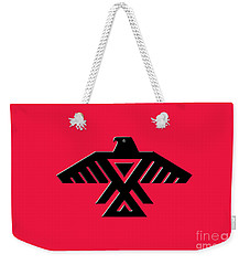Thunderbird Emblem Of The Anishinaabe People Black On Red Version Weekender Tote Bag