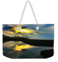 Weekender Tote Bag featuring the photograph Tidal Pond Sunset New Zealand by Amanda Stadther