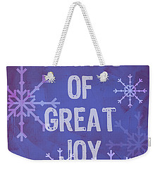 Weekender Tote Bag featuring the painting Tidings Of Great Joy by Jocelyn Friis