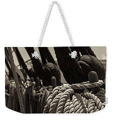 Tied Up Black And White Sepia Weekender Tote Bag