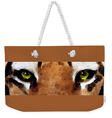 Tiger Art - Hungry Eyes Weekender Tote Bag by Sharon Cummings