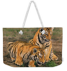 Tiger Cubs Weekender Tote Bag by David Stribbling