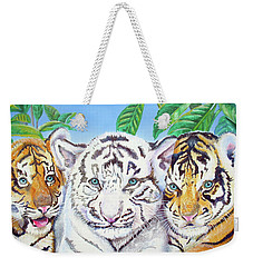Weekender Tote Bag featuring the painting Tiger Cubs by Thomas J Herring