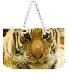 Weekender Tote Bag featuring the digital art Tiger Eyes by Erika Weber
