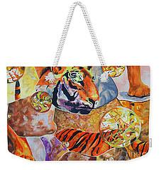 Weekender Tote Bag featuring the painting Tiger Mosaic by Daniel Janda