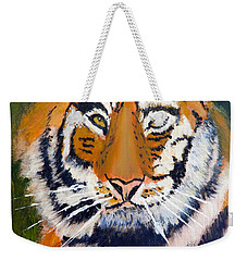Weekender Tote Bag featuring the painting Tiger by Pamela  Meredith