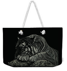 Tiger Power At Peace Weekender Tote Bag by Sandra LaFaut