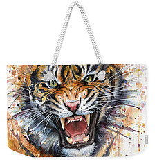 Tiger Watercolor Portrait Weekender Tote Bag by Olga Shvartsur